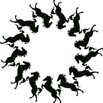 Horse, Frame, Round, Silhouette, Circle, Stallion