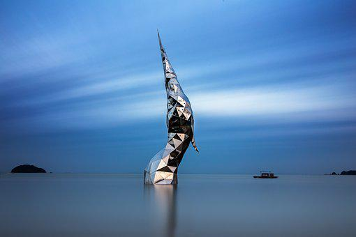 Art Installation, Ocean, Sea, Horizon, Blue Sky