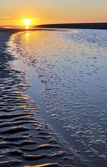 Sunset, Beach, Sand, Sea, Shore, Seashore, Coast