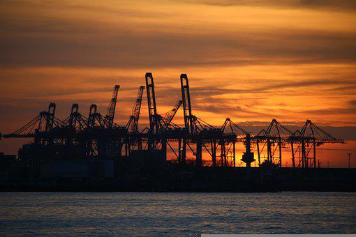 Sunset, Port, Hamburg, Cranes, Silhouettes, Dusk