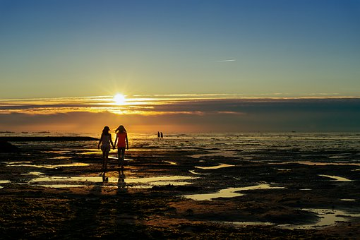 Girls, Beach, Sunset, Silhouettes, Girl Silhouettes