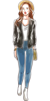 Woman, Fashion, Sketch, Jeans, Outfit, Girl, Female