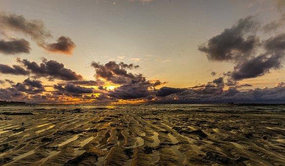Beach, Sea, Sunset, Horizon, Clouds, Sky, Sand