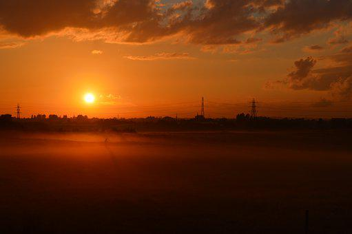 Sunset, Landscape, Overhead Power Lines, Sky, Clouds