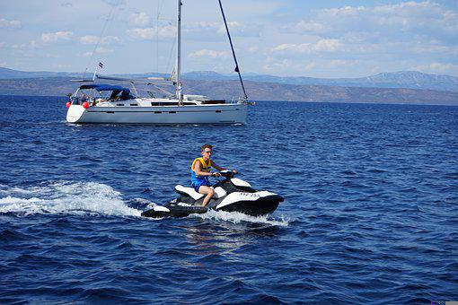 Sea, Water, Jetsky, Sport, Speed, The Activities Of The
