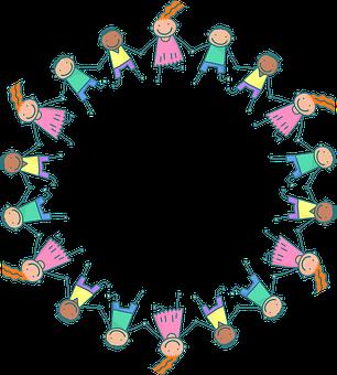 Kids, Frame, Round, Circle, Stick Figure, Children