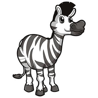 Zebra, Stripes, Black And White, Animal, Wild, Cartoon