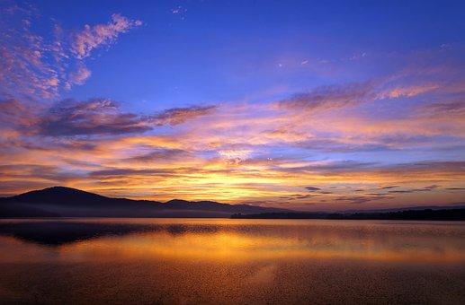 Lake, West, Sun, Sky, Mountains, Landscape, Nature