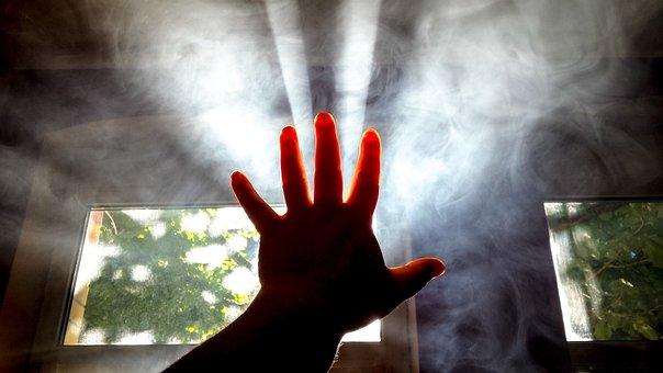 Hand, Light, Smoke, Sunrays, Sunlight, Sunbeams