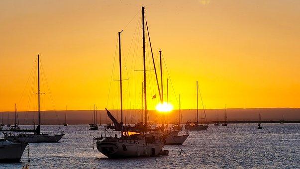 Sunset, Sailboats, Sea, Ocean, Bay, Marina, Wharf