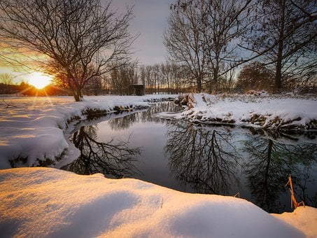 Snow, River, Trees, Bare Trees, Sunset, Dusk, Twilight