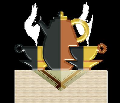 Coffee, Coffee Pot, Table, Napkin, Steam, Cups