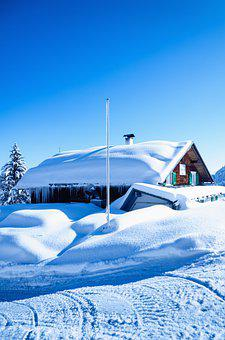 Snow, Lodge, Cabin, Snow Covered, Field, Tire Tracks