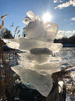 Ice, Plaice, Winter, Sun, Transparent, Water, Abstract