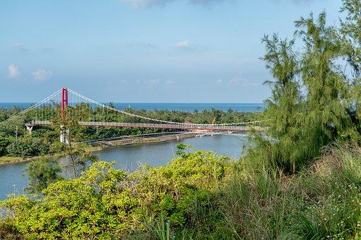 Suspension Bridge, River, Trees, Bridge, Water, Horizon