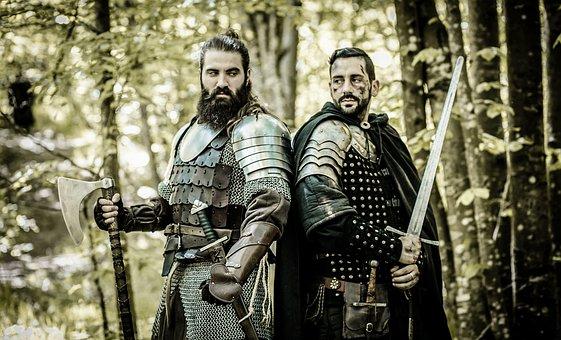 Knights, Warriors, Axe, Sword, Armor, Men, Bearded Men