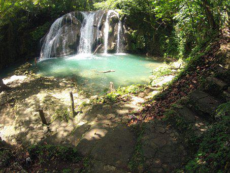 Waterfall, Dominican Republic, Trees, River, Nature