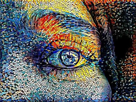 Woman, Eye, Mosaic, Sad, Alone, Lonely, Despair, Art