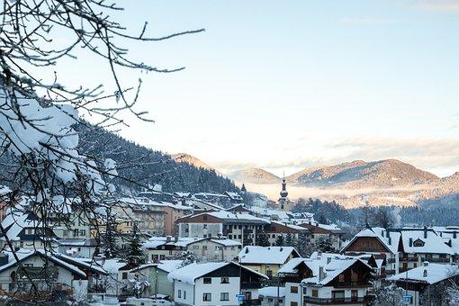 Houses, Town, Snow, Mountains, Alps, Alpine