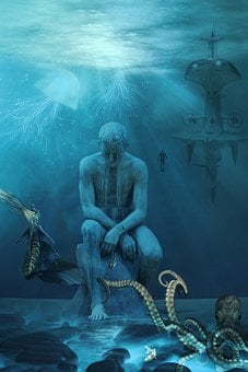 Background Screen, Cinema, Poster, Submerged Statue
