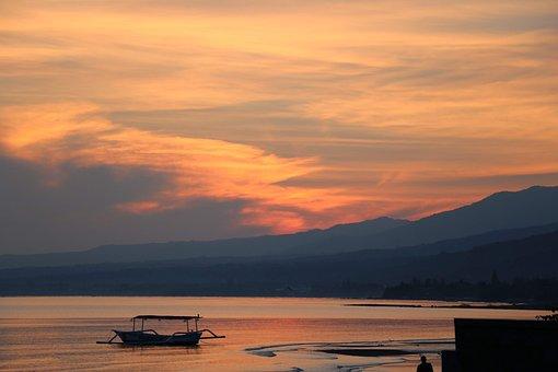 Boat, Sea, Sunset, Silhouette, Mountain, Bay, Ocean