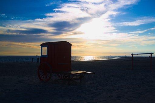 Beach, Sunshine, Vacation, North Sea, Beach Wagon