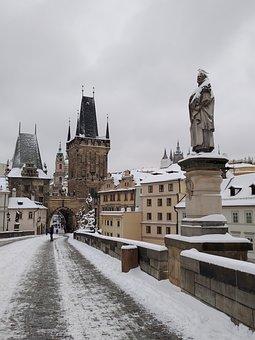 Prague, Charles Bridge, Statue, Tower, City, Snow