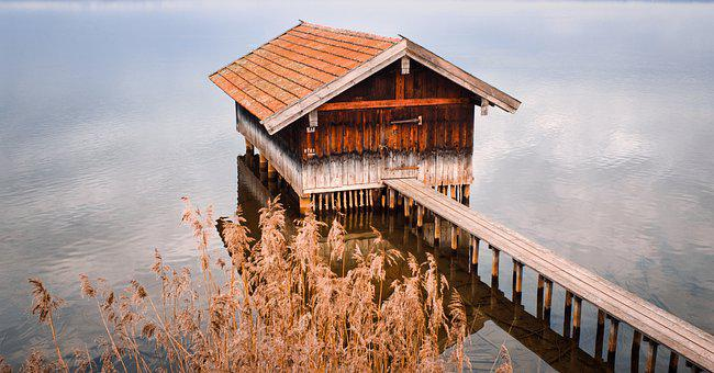 Lake, Boat House, Boardwalk, Wooden Planks, Chiemsee