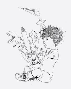 Boy, Book, Dream, Imagination, Kid, Child, Childhood
