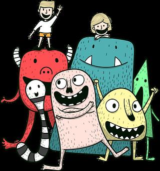 Monsters, Children, Happy, Kids, Childhood, Creatures