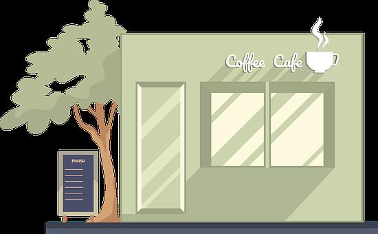 Coffee Shop, Building, Facade, Cafe, Restaurant, Shop