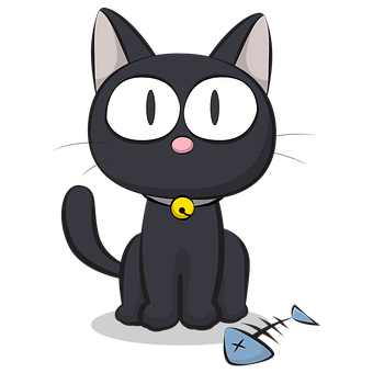 Cat, Fishbone, Cartoon, Black Cat, Pet, Animal