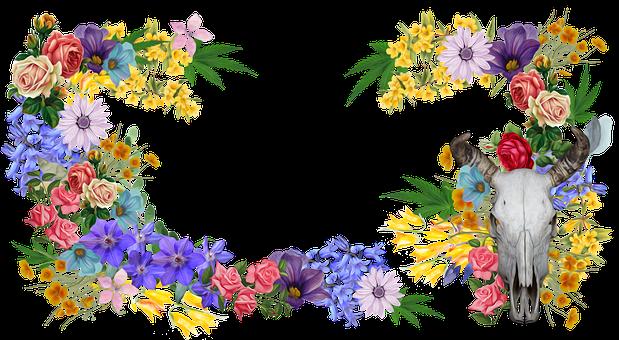 Flowers, Cannabis, Marijuana, Floral, Design
