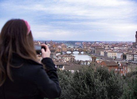 Florence, Piazzale Michelangelo, Ponte Vecchio, Italy