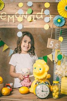 Girl, Kid, Lemonade Stand, Child, Seller