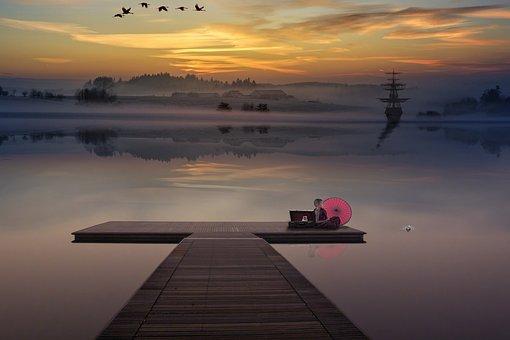 Lake, Jetty, Sunset, Dusk, Sunrise, Dawn, Dock