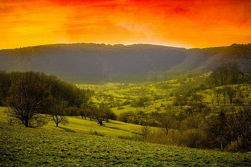 Landscape, Photoshop, Sunset, Mountains, Light