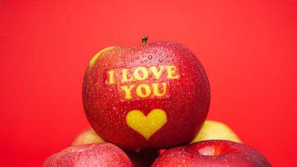 Apple, Engraved, I Love You, Heart, Love, Inscribed