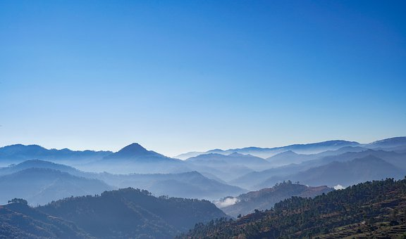 Mountains, Fog, Peak, Silhouette, Panorama, Forest