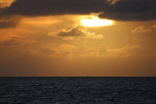 Mar, Ocean, Sunset, Clouds, Orange Sky, Horizon, Navy