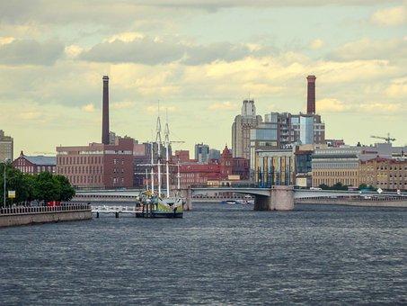 Saint-petersburg, Russia, Neva, Ship, Bridge, Houses