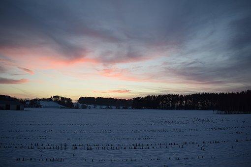 Sunset, Suwałki Region, Winter, Sky, Forest, Clouds