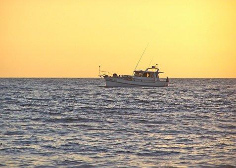 Boat, Sea, Sunset, Sky, Night, Landscape, Beach, Lake