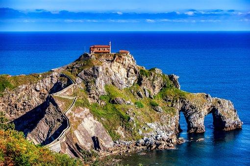Spain, Rock, Gaztelugatxe, Island, Bizkaia, Landscape