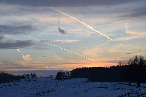 Sunset, Winter, Suwałki Region, Sky, Nature, Forest