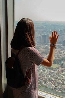 Girl, Tourist, Window, View, Tourism, Sightseeing