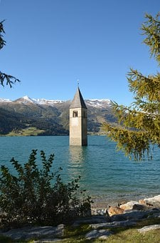 Bell Tower, Lake, Mountains, Tower