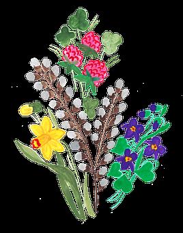 Daffodil, Daffodils, Clover, Branch, Twig, Bouquet