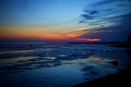 Sunset, Beach, Sea, Ocean, Horizon, Dusk, Twilight