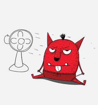 Fan, Hot, Monster, Electric, Ventilator, Air, Breeze